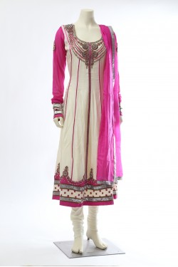 Off-white Pink Silk Anarkali