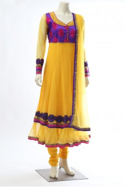Yellow Georgette Frill Anarkali