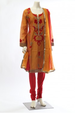 Mustard Red Chanderi Silk Straight Suit