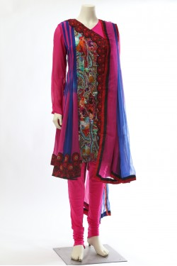Pink Blue Georgette Kali Suit