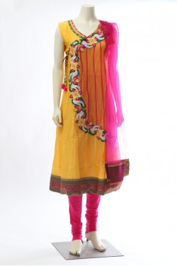 Yellow Angrakha Chanderi Net Suit