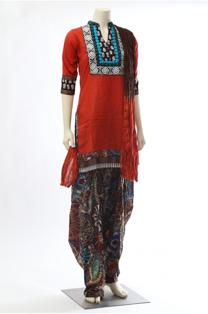 Rust Brown Cotton Patiala Salwar Kameez