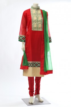 Red Chanderi Cotton Straight Churidar Kameez
