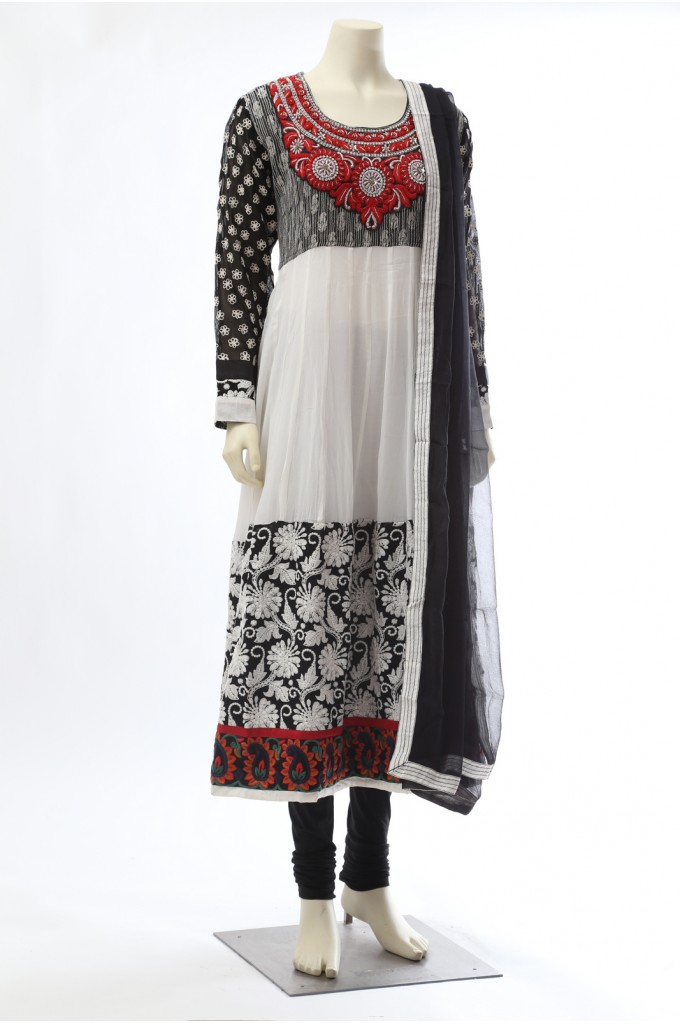 White Black Georgette Anarkali
