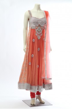 Peach Silver Net Anarkali Suit