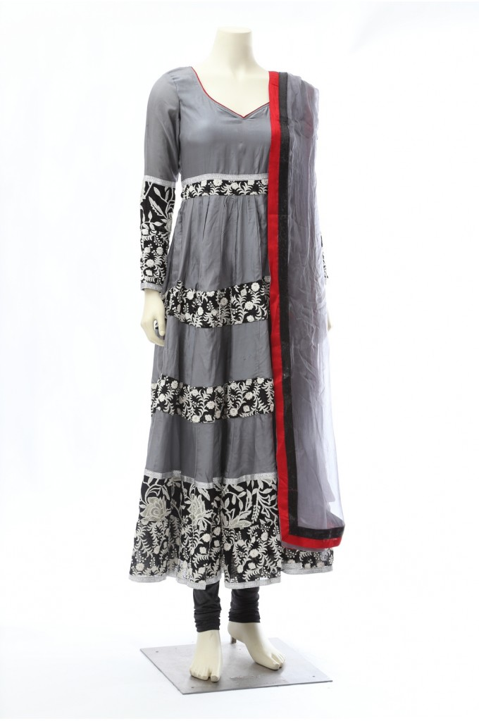 Grey Silk Long Anarkali