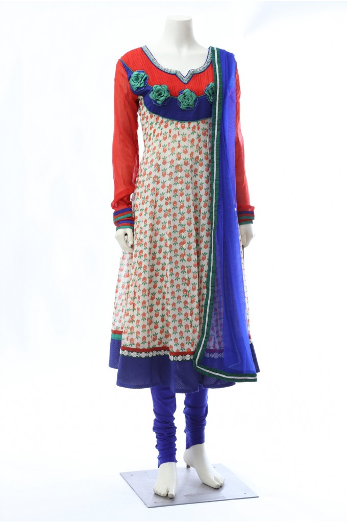 Printed Georgette Anarkali in Off-White and Orange