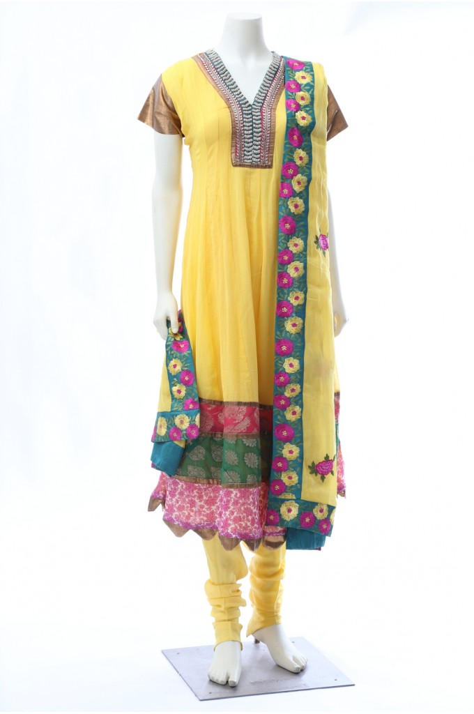 Yellow Georgette Anarkali Bead Work