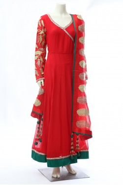 Gorgeous Red Long Georgette Anarkali