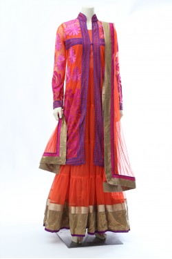 Orange Long Jacket Anarkali
