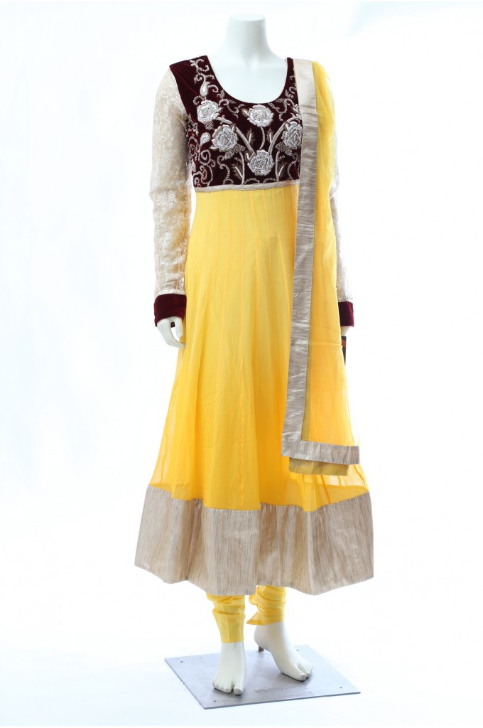 Yellow Georgette Anarkali Maroon Velvet choli