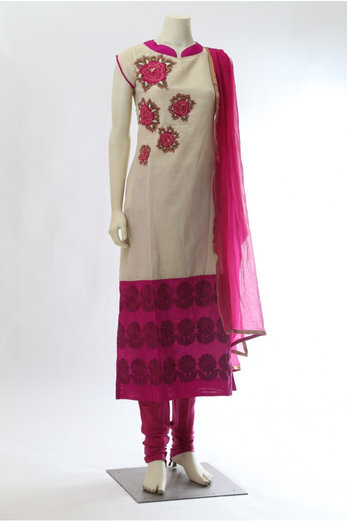 Beige and Pink Chanderi Silk Straight Suit