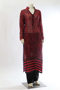 Printed Georgette Kurta with Palazzo Pants