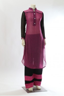 Pink Georgette Kurta with Palazzo Pants
