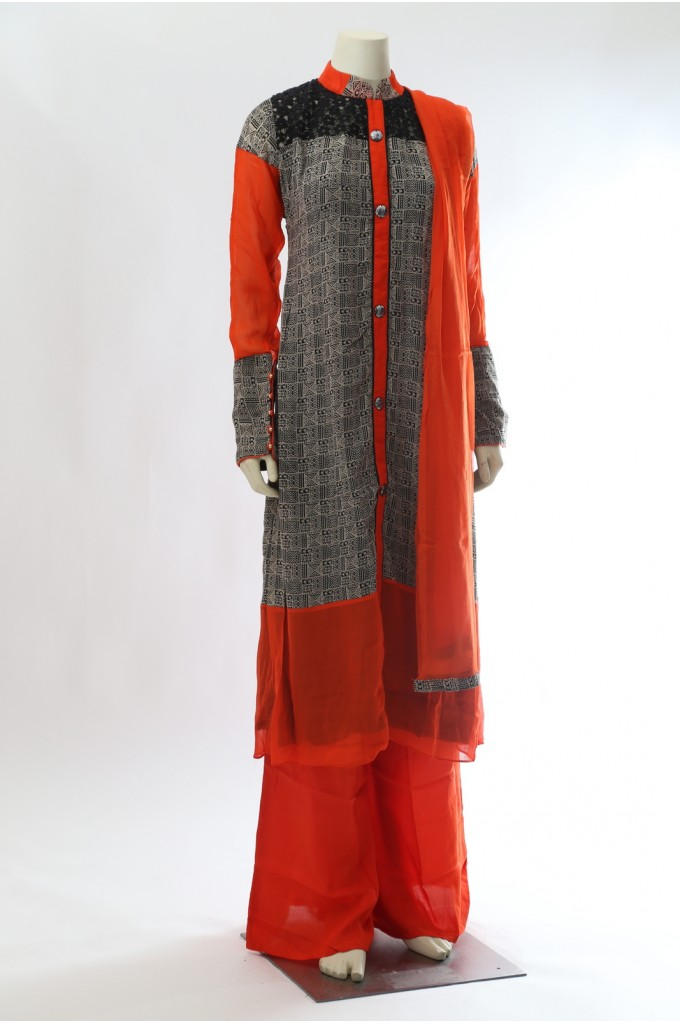 Black Orange Georgette Suit with Palazzo