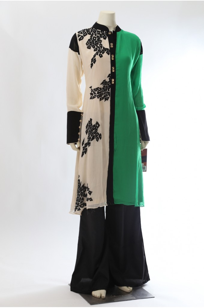 Green Off-White Georgette Kurta with Black Palazzo
