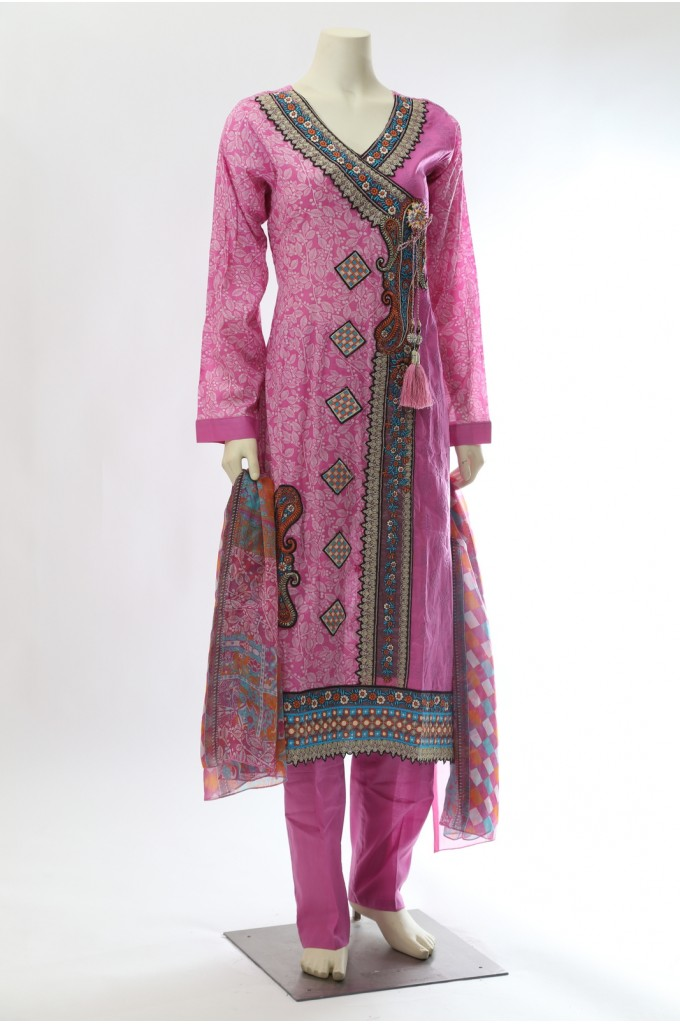 Pink Angrakha Style Printed Suit