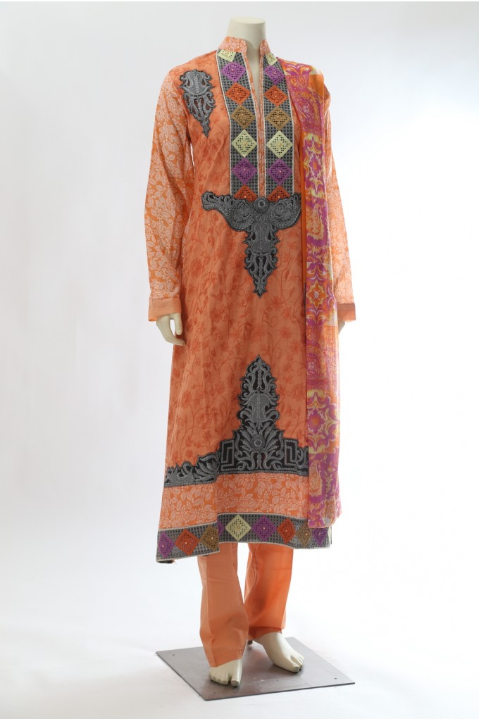Pakistani Style Orange Suit