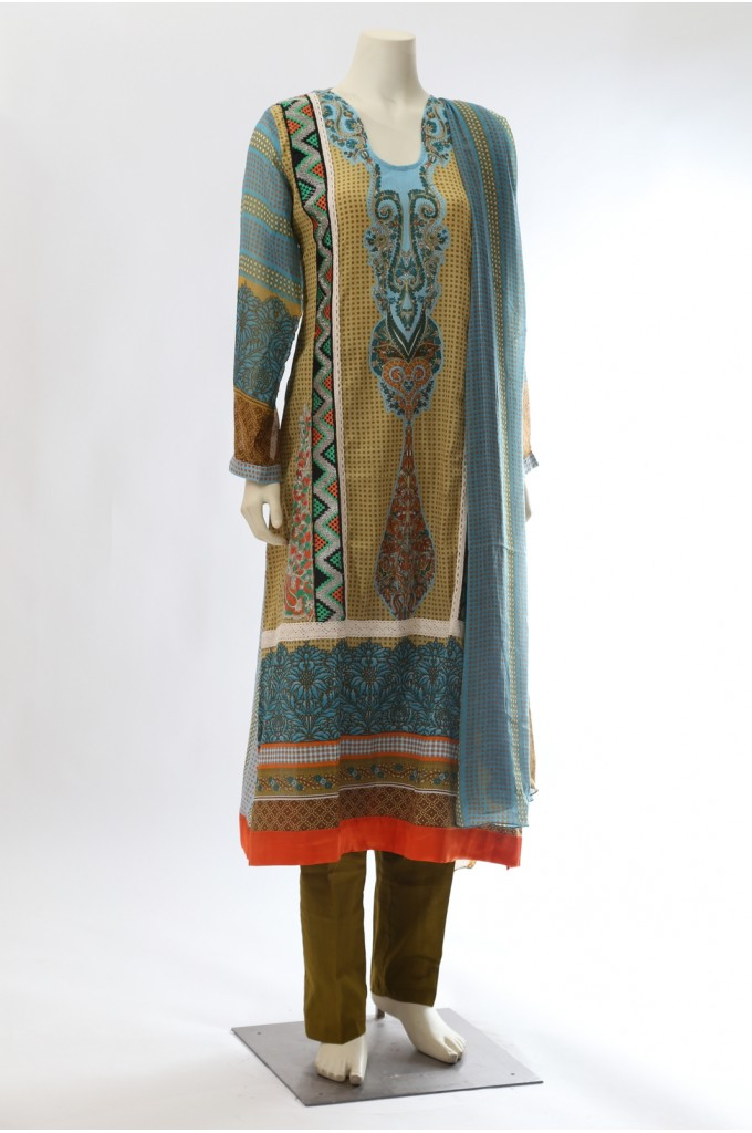 Blue and Green Pakistani Printed Suit