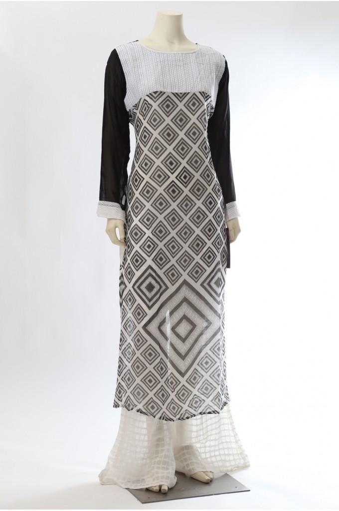 Home » Designer Suits » Black and White Printed Kurta Palazzo Pants