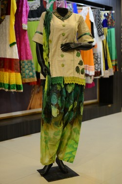 Beige and Green Printed Patiala Suit