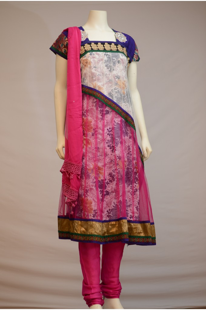 White and Pink Net Anarkali with a Printed Cotton Lining