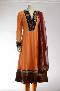 Orange and Black Silk Anarkali Churidar