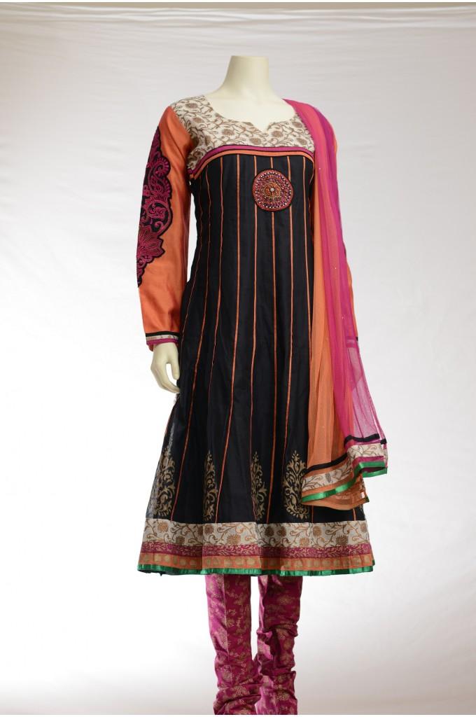 Black Chanderi Cotton Anarkali with Orange and Pink