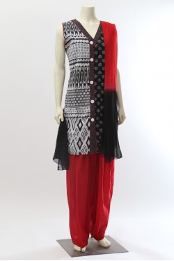 Black and Red Cotton Salwar Suit