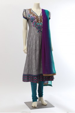 Grey Chanderi Silk Anarkali