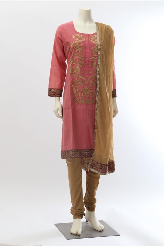 Pink Chanderi Cotton Churidar Suit