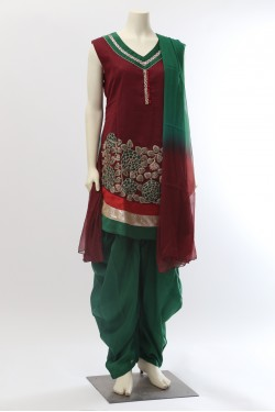 Maroon and Green Patiala Salwar Kameez