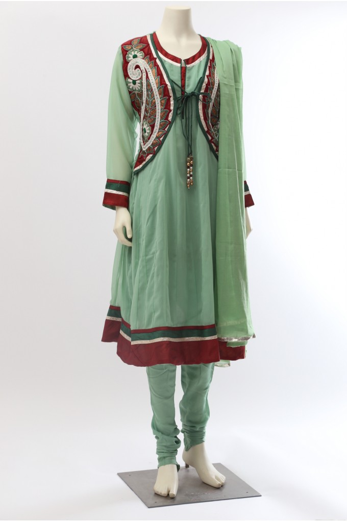 Light Green Faux Georgette Anarkali Jacket Style Suit