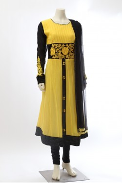 Yellow and Black Georgette Anarkali