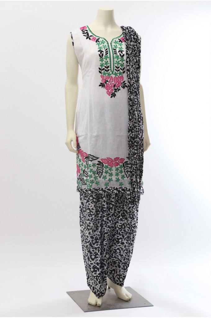 White and Black Churidar Salwar Kameez