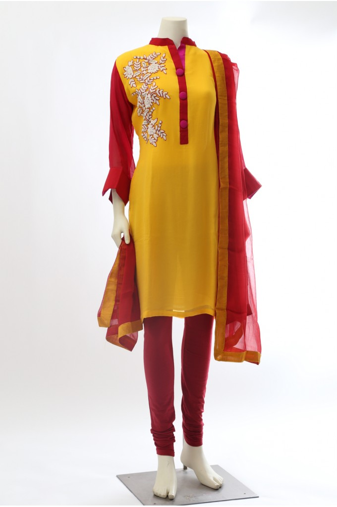 Yellow and Red Chiffon Straight Suit