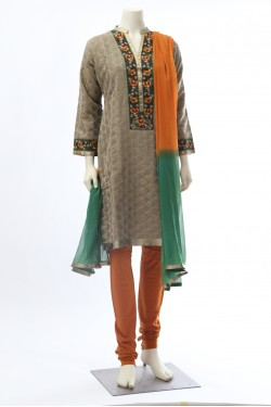 Green and Mustard Straight Chanderi Suit