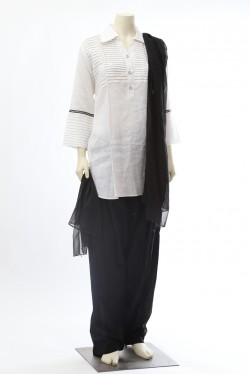 White and Black Linen Salwar Kameez